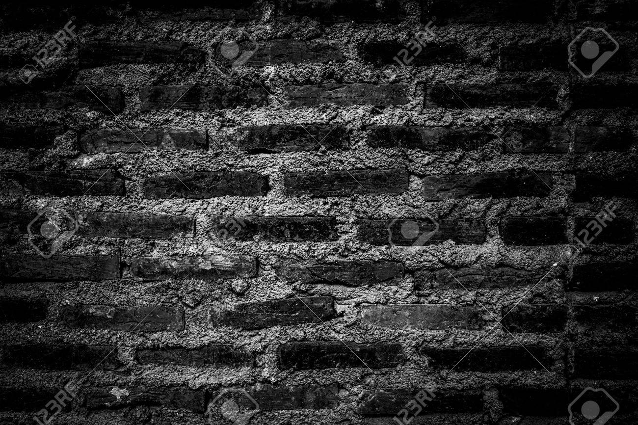 Rustic Bricks And Cement Texture Wall In Darkened Bw Theme High Vignette For Background Use