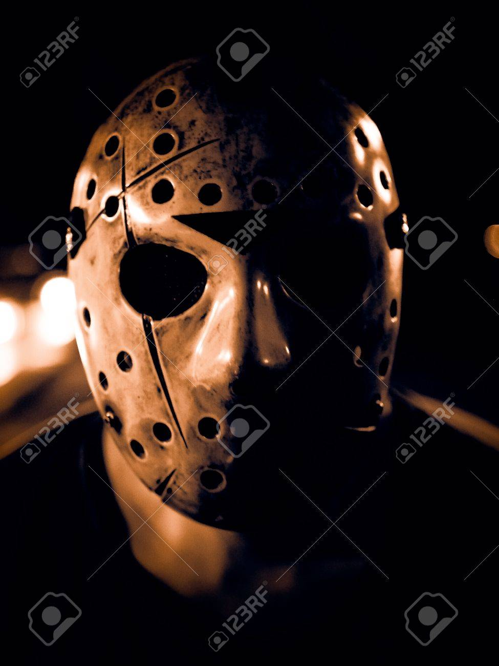 Halloween Hockey Masker.Low Key Image Of A Man Wearing Scary Hockey Mask For Halloween