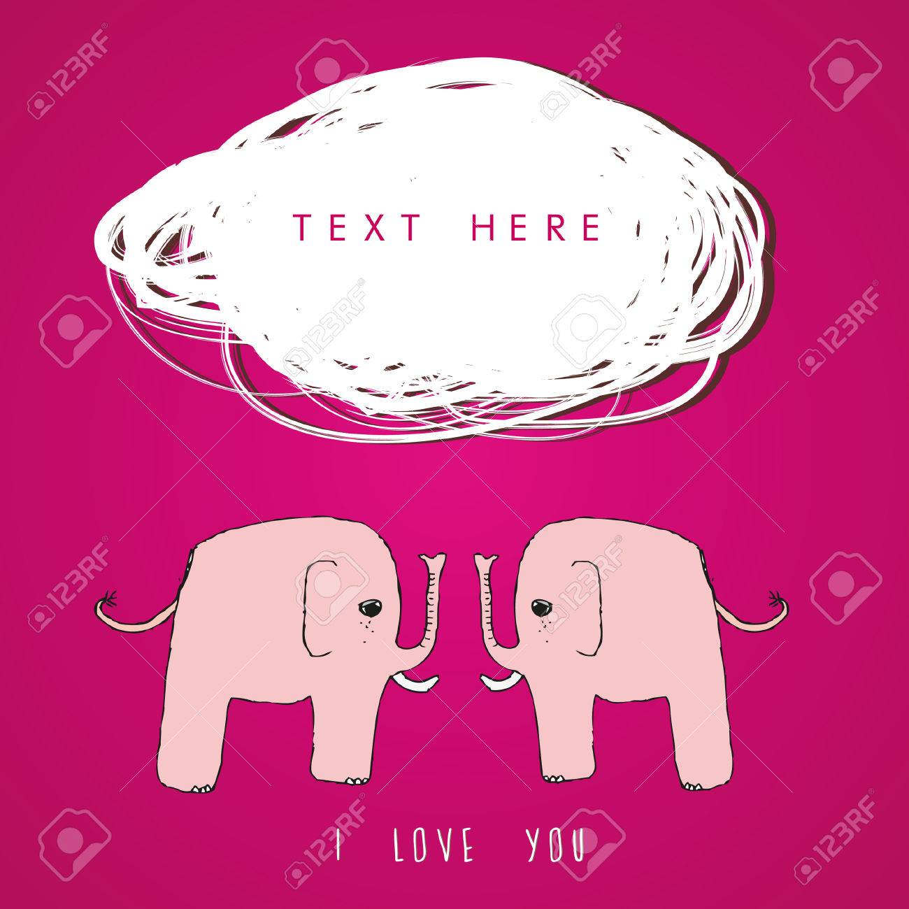 Elephant Valentine Card Template Royalty Free Cliparts Vectors – Elephant Valentines Card