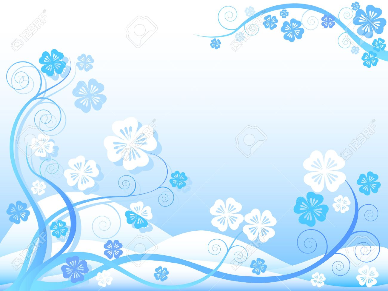 Abstract with floral ornaments on blue and white background Stock Vector - 5570738