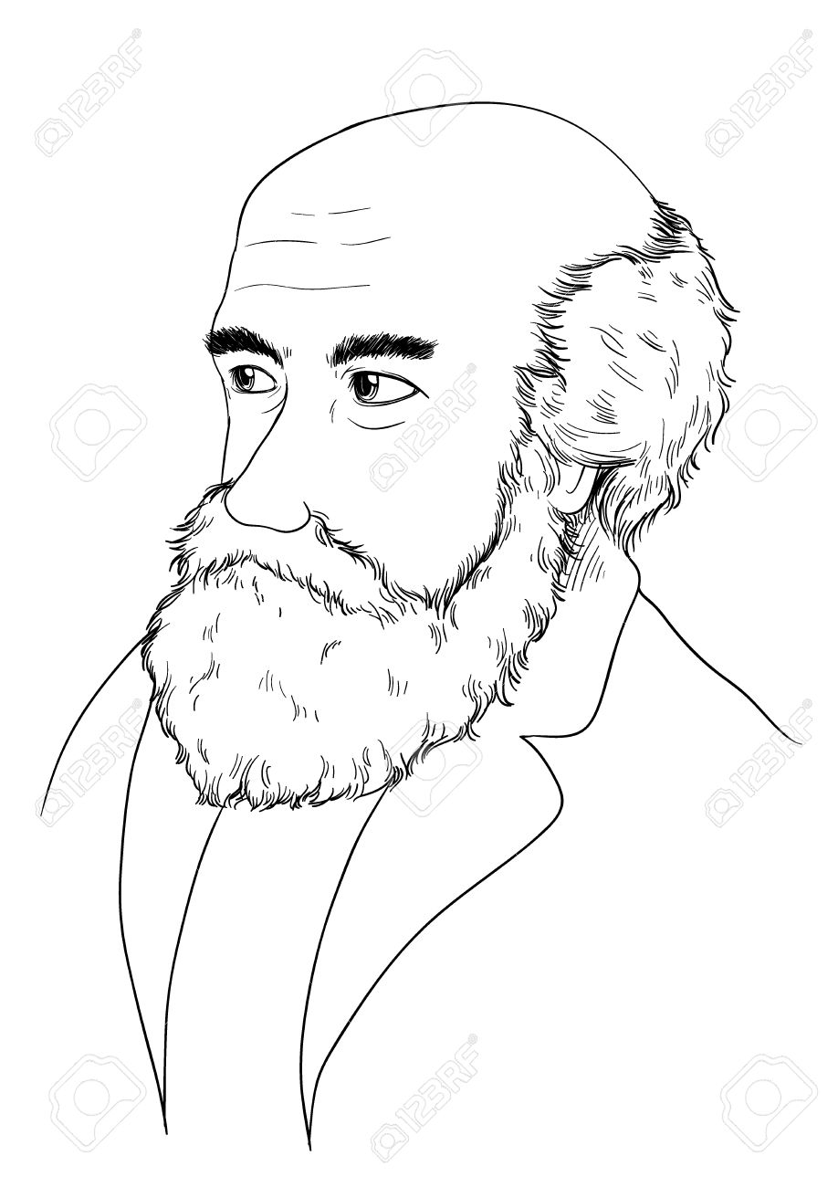 Sketch of Charles Darwin Stock Vector - 16771562