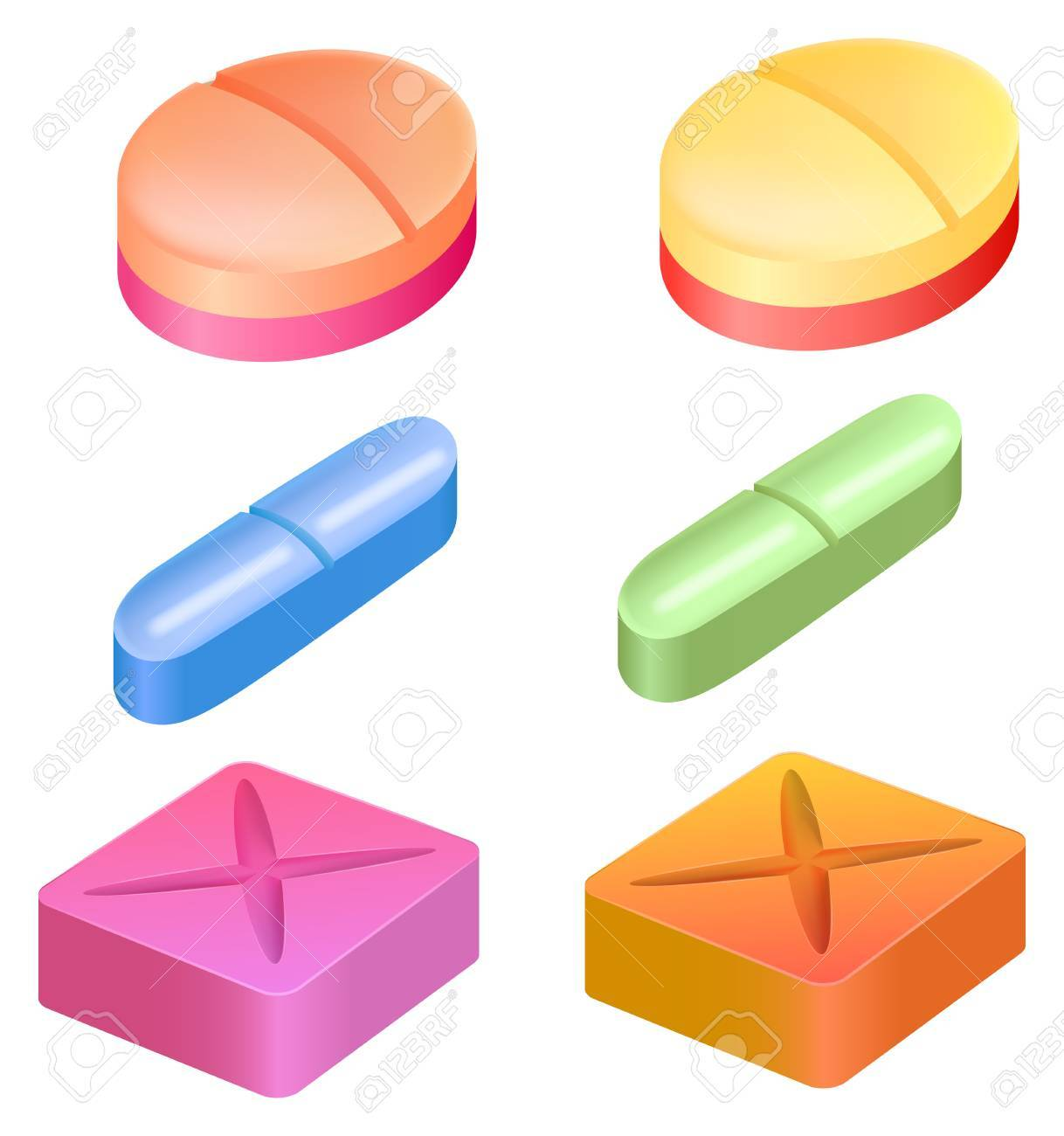 Illustration showing the shapes of medicinal pills Stock Vector - 20679967
