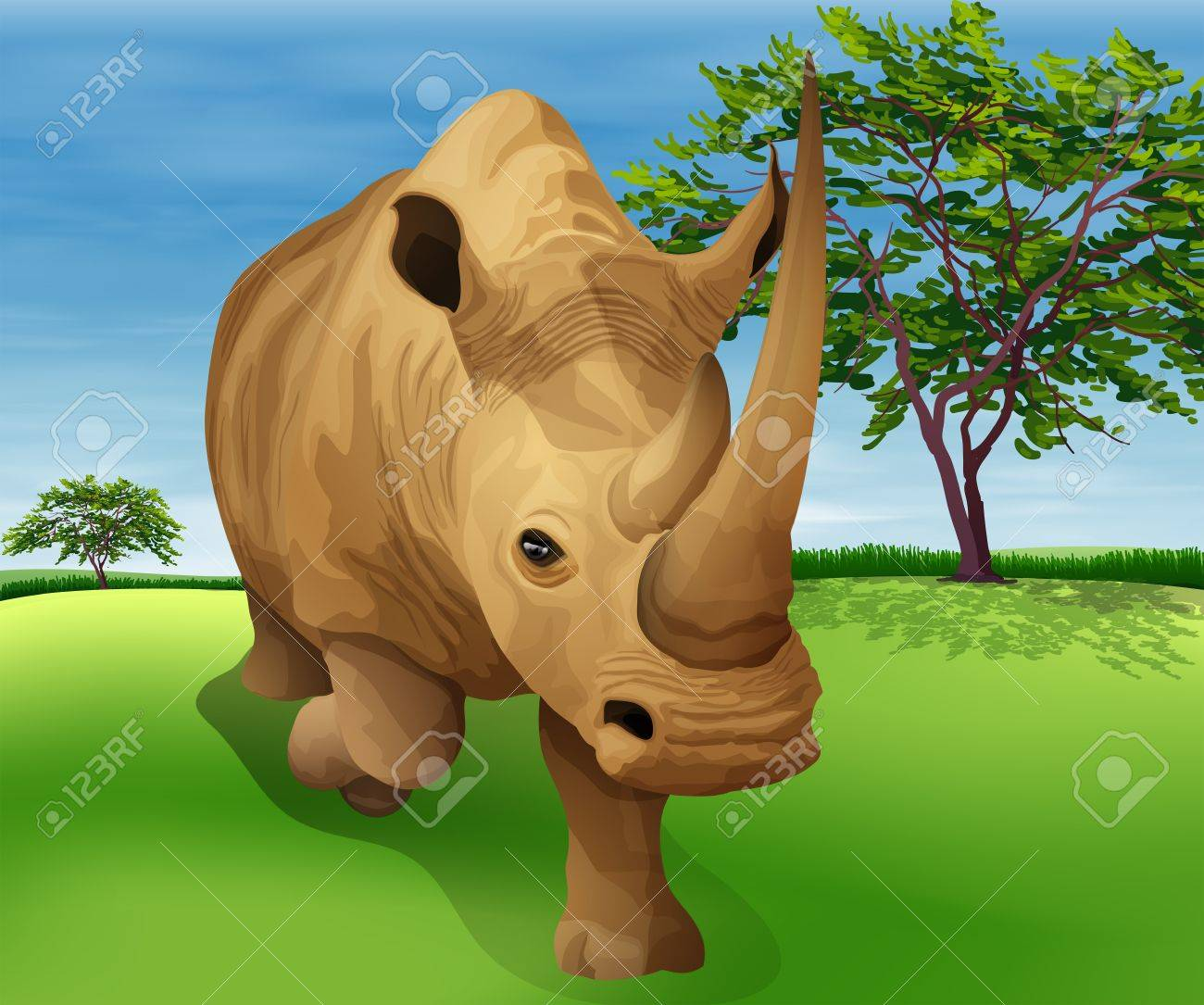 Illustration showing the Rhinoceros Stock Vector - 20774798