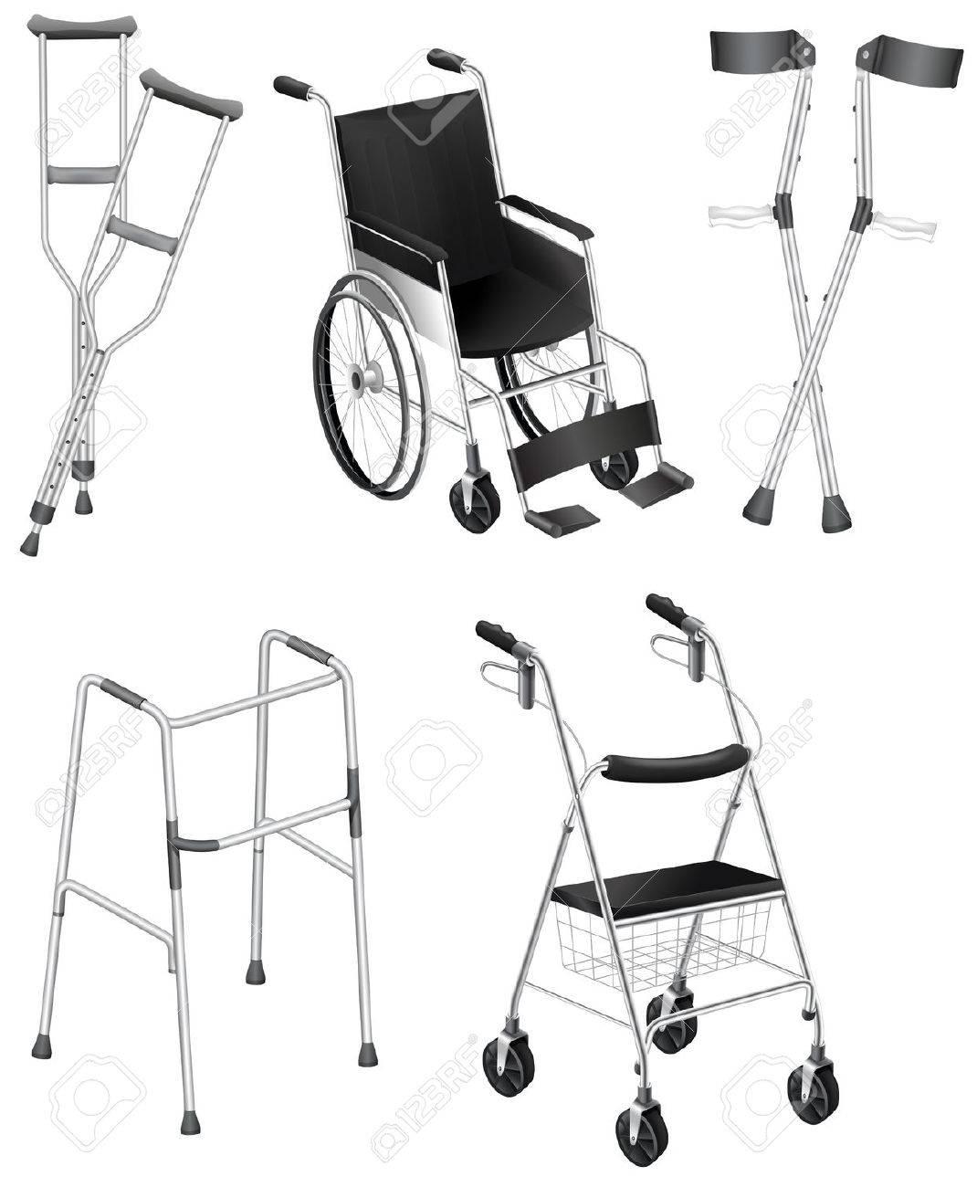 Ilustración de las muletas y sillas de ruedas en un fondo blanco