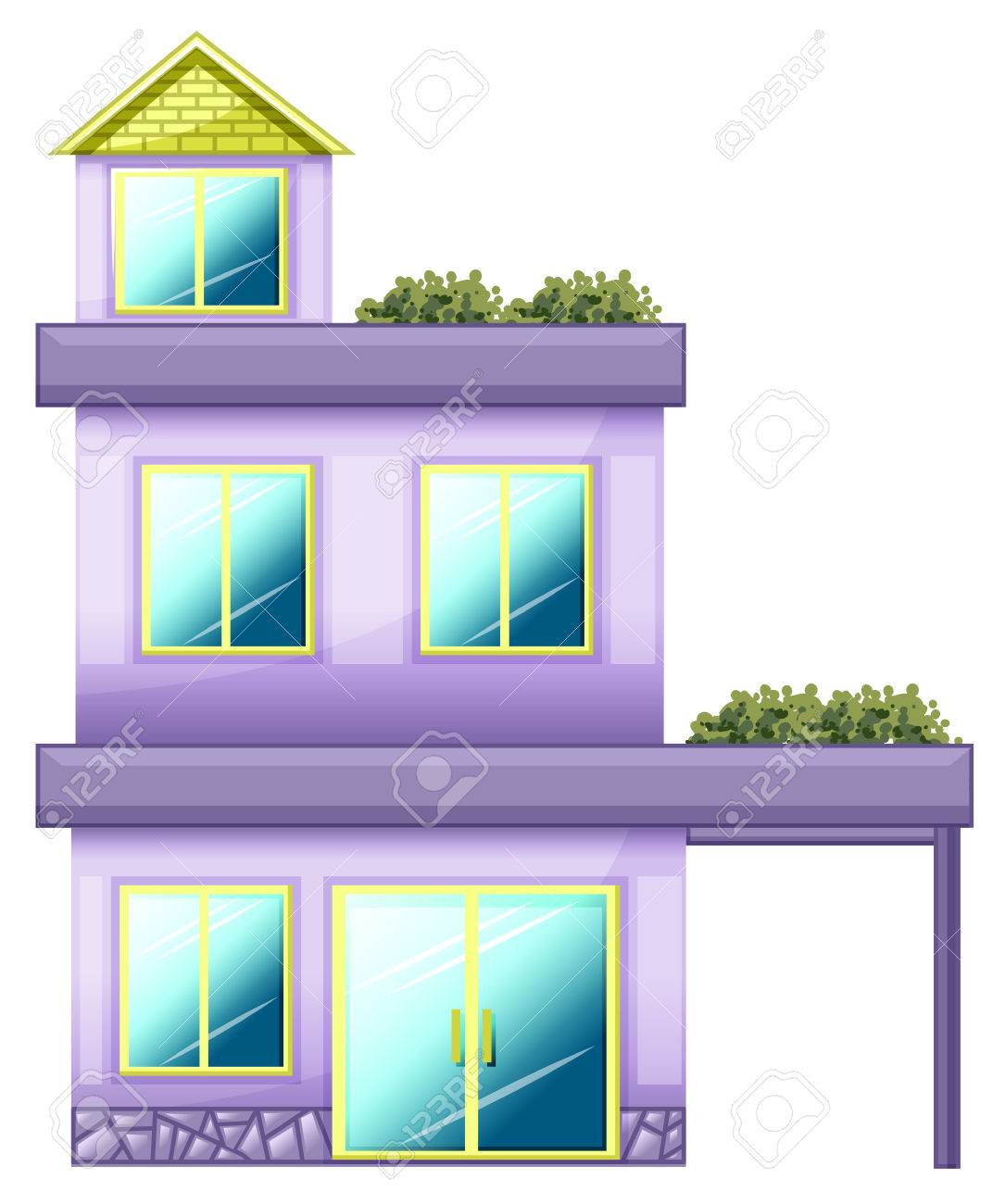 Illustration of a three-story building on a white background Stock Vector - 23977116