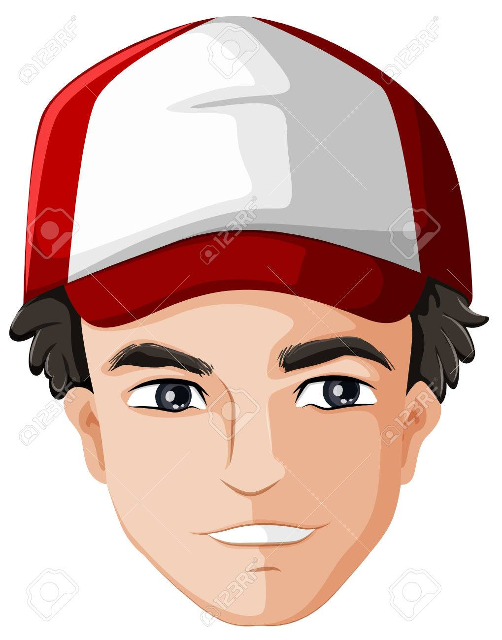 Illustration of a man's head with a cap on a white background Stock Vector - 23977130