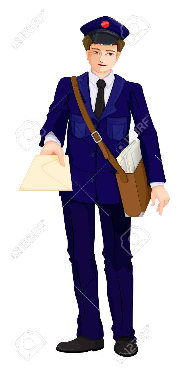 Illustration of a postman on a white background Stock Vector - 23977142