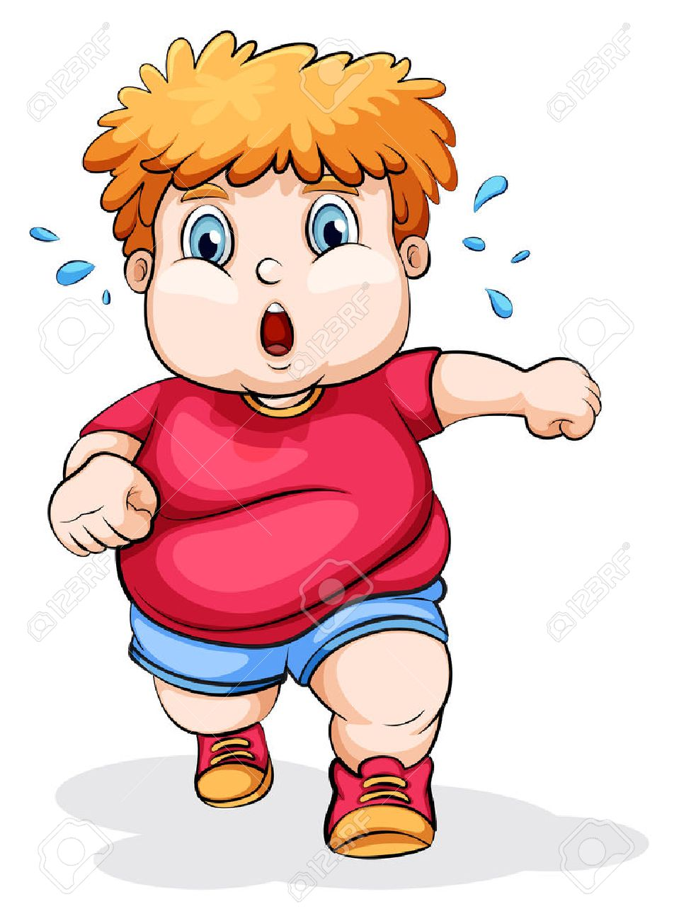 Illustration of a fat Caucasian kid running on a white background - 25210998