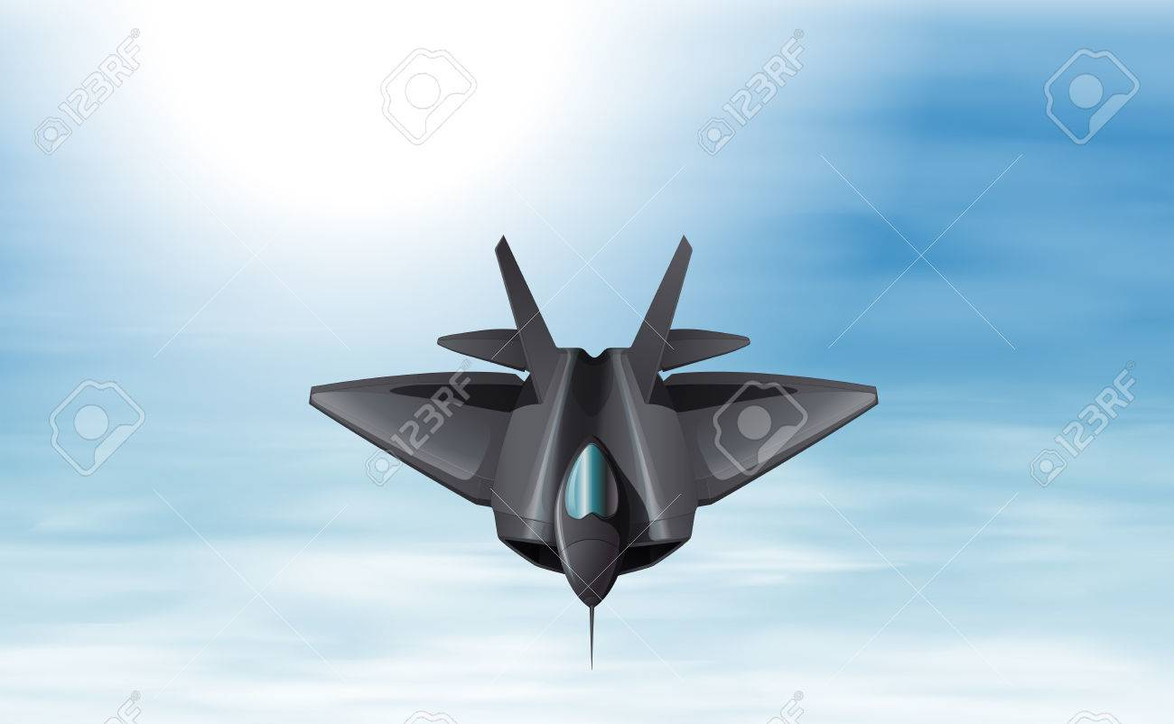 Illustration of a gray fighter jet in the sky Stock Vector - 25401146