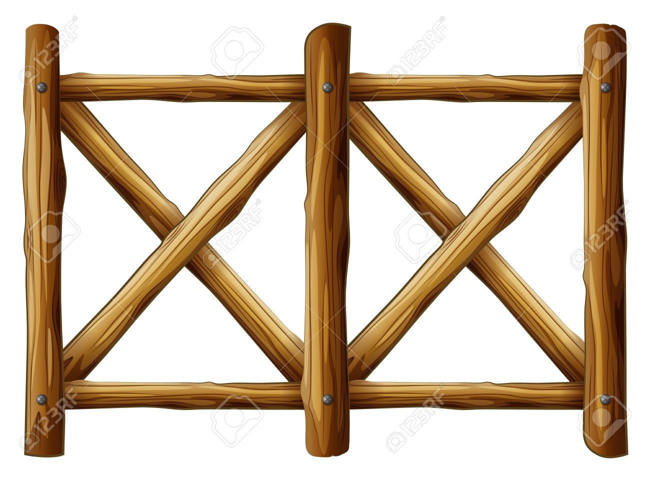 Illustration Of A Wooden Fence Design On A White Background Royalty ...