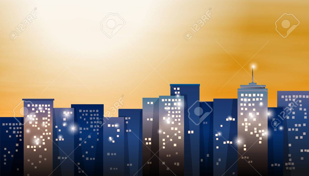 Illustration of a view of the bright city Stock Vector - 25592743