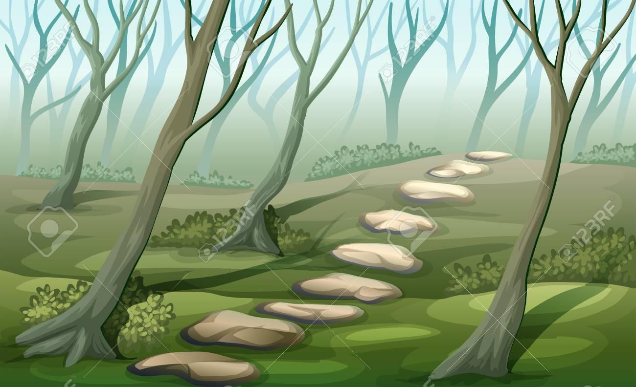 Ilustracion De Un Bosque De Niebla Ilustraciones Vectoriales Clip Art Vectorizado Libre De Derechos Image 25943898