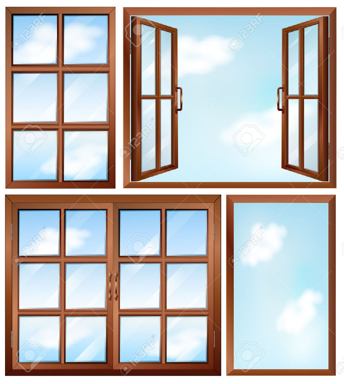Illustration of the different window designs on a white - 26746736