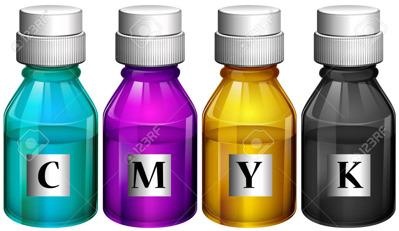 Illustration of the bottles of colorful inks on a white background Stock Vector - 27148134