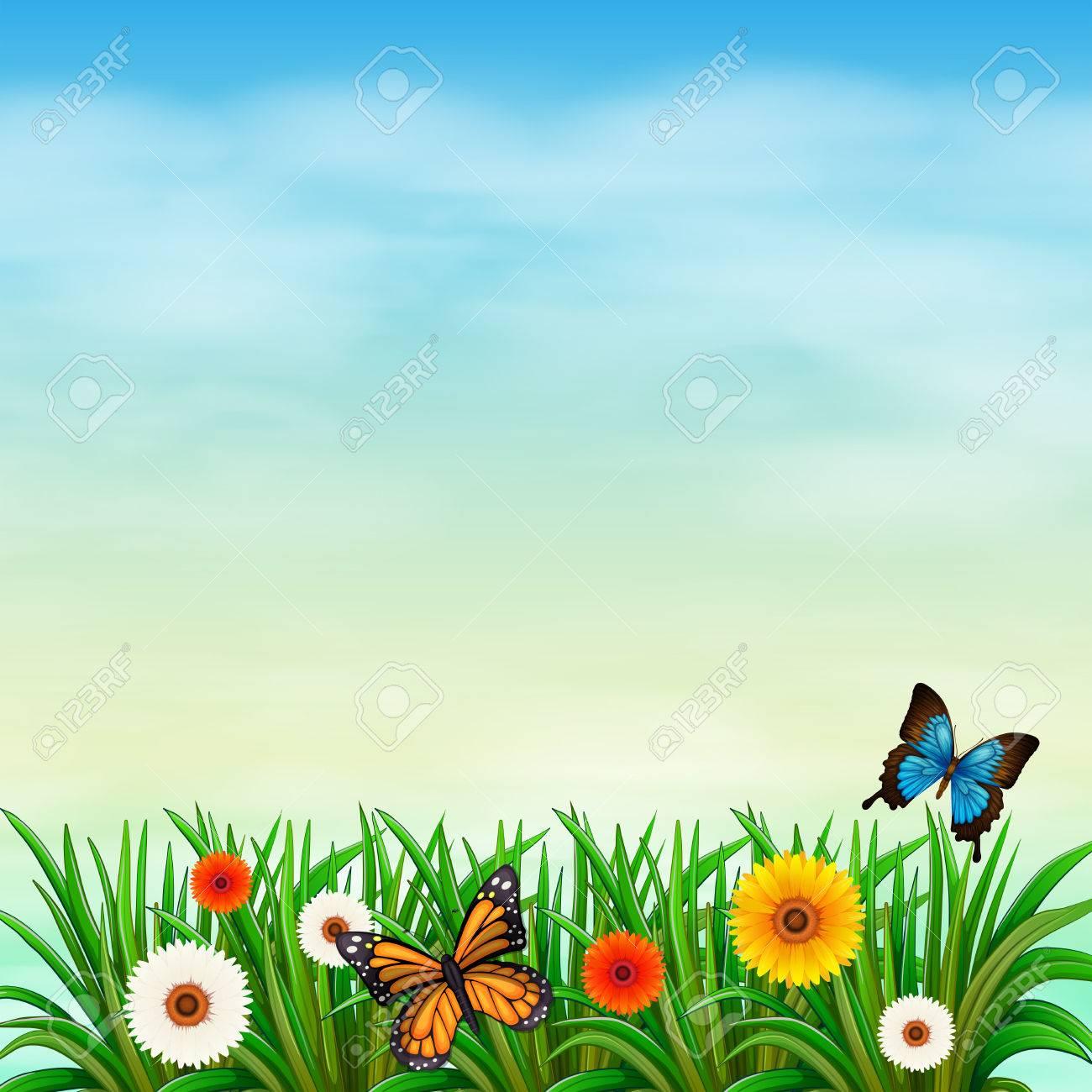 Flower Garden With Butterfly