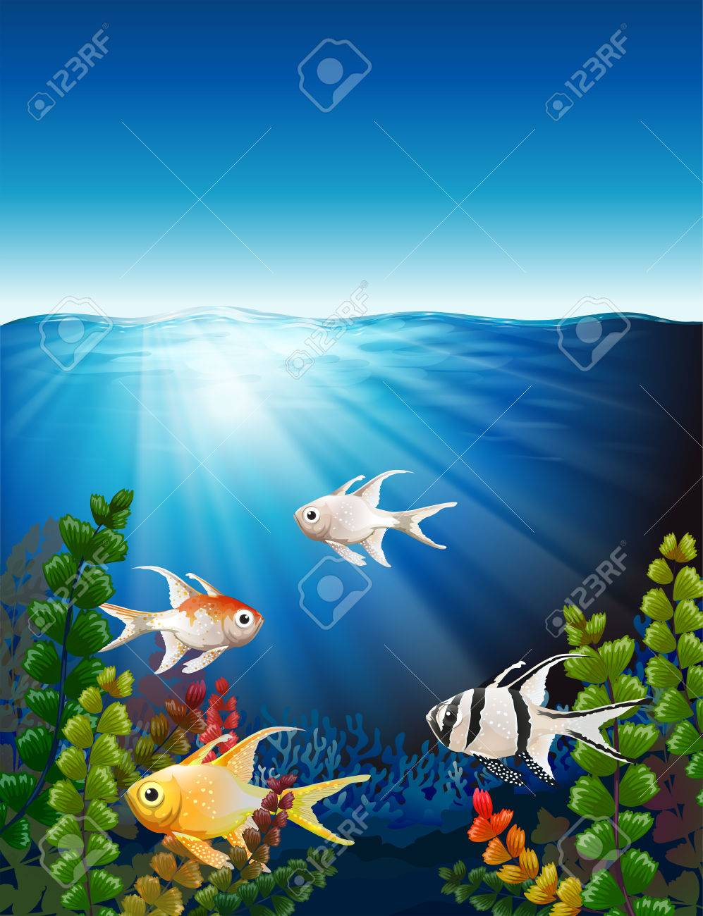 Illustration of a group of fishes underwater Stock Vector - 27151488