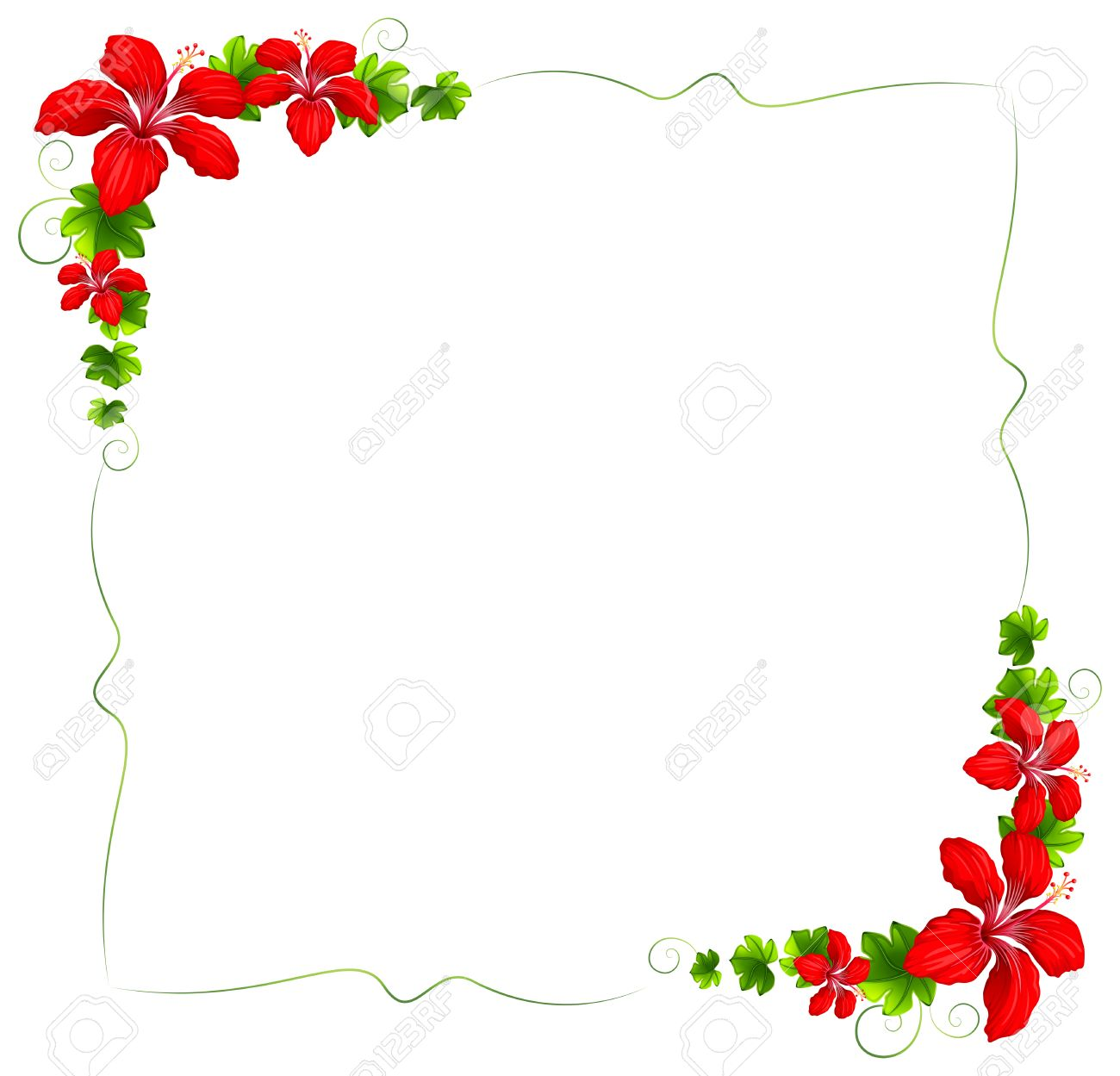 illustration of a floral border with red flowers on a white