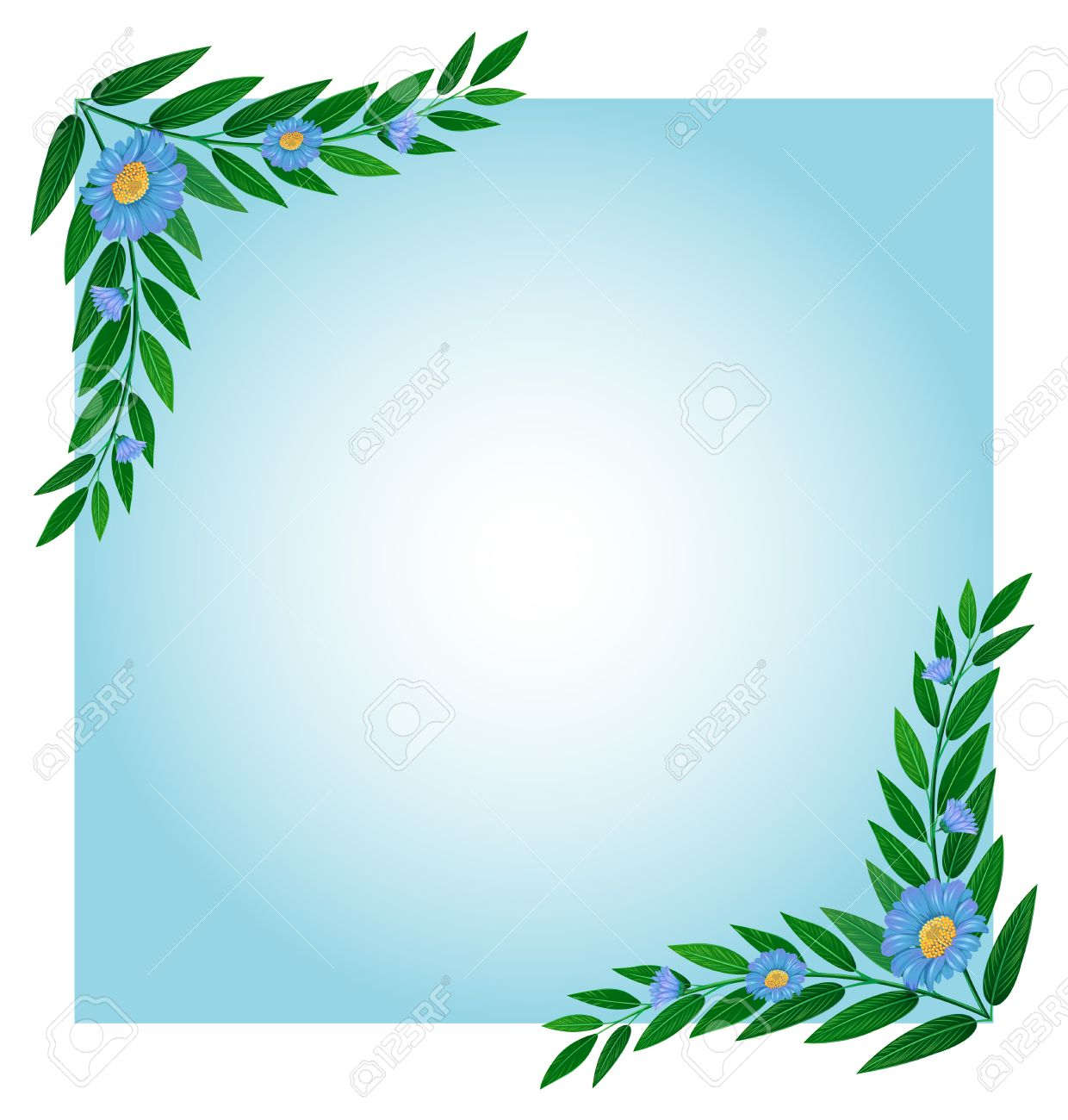 Illustration Einer Vorlage Mit Grünen Und Blauen Grenzen Auf Weißem ...