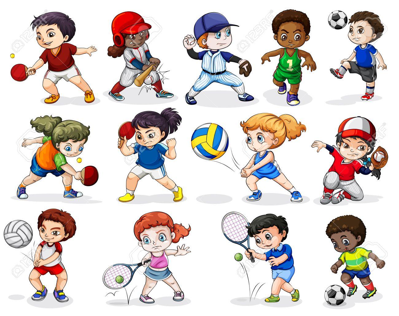 白い背景にさまざまなスポーツ活動に従事して子供たちのイラスト