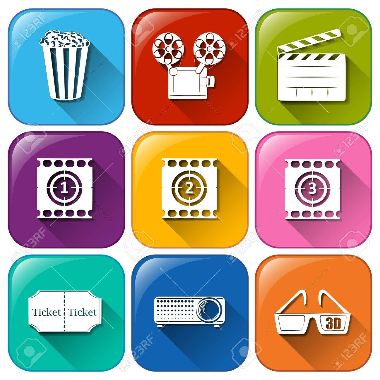 Illustration of the movie marathon icons on a white background Stock Vector - 30260700