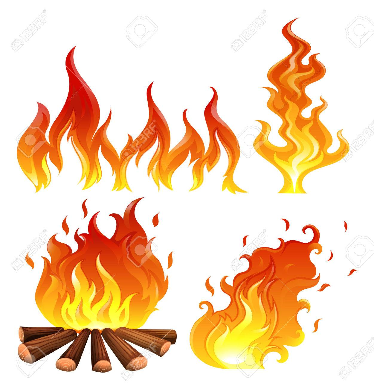 Illustration of the set of flames on a white background - 30260754