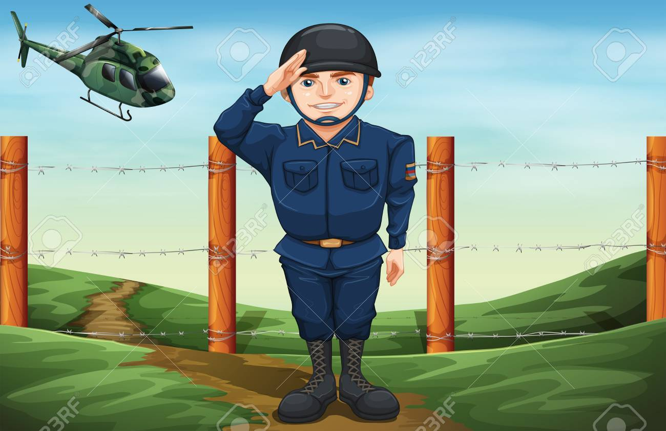 Illustration Of A Soldier In Front Of The Barbwire Fence Royalty ...