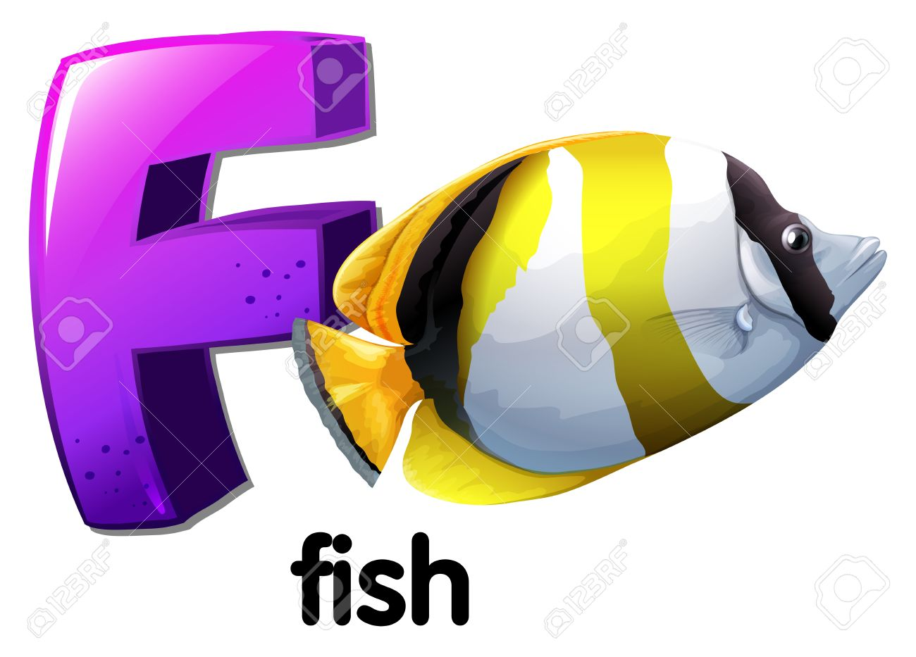 illustration of a letter f for fish on a white background royalty