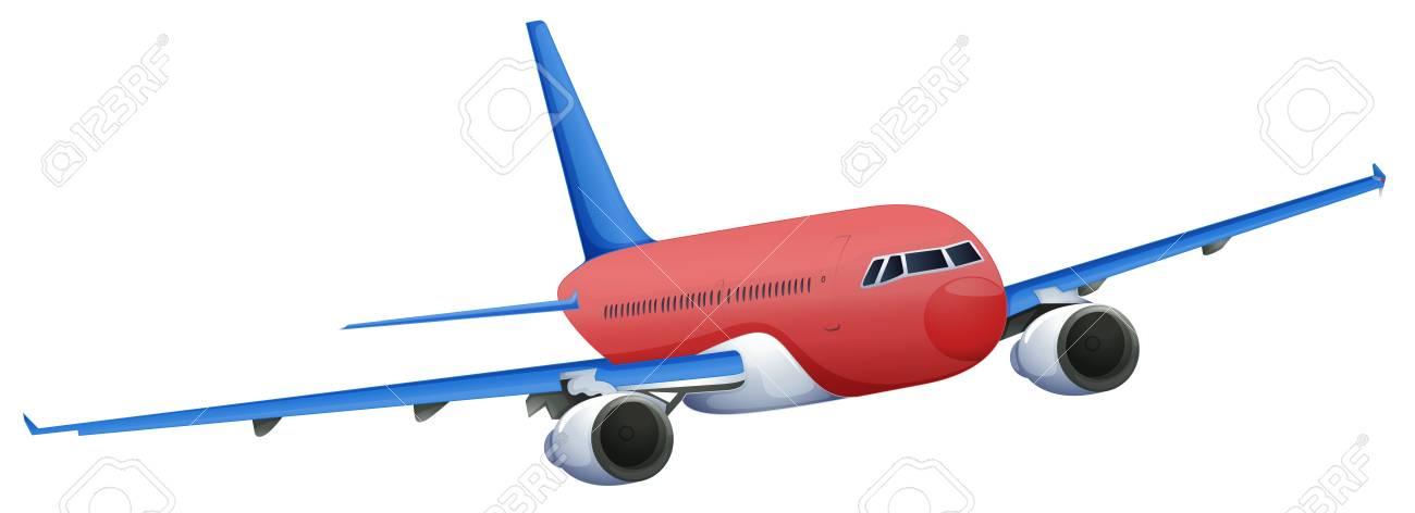 Ilustración De Un Avión De Color Rojo Sobre Un Fondo Blanco ...