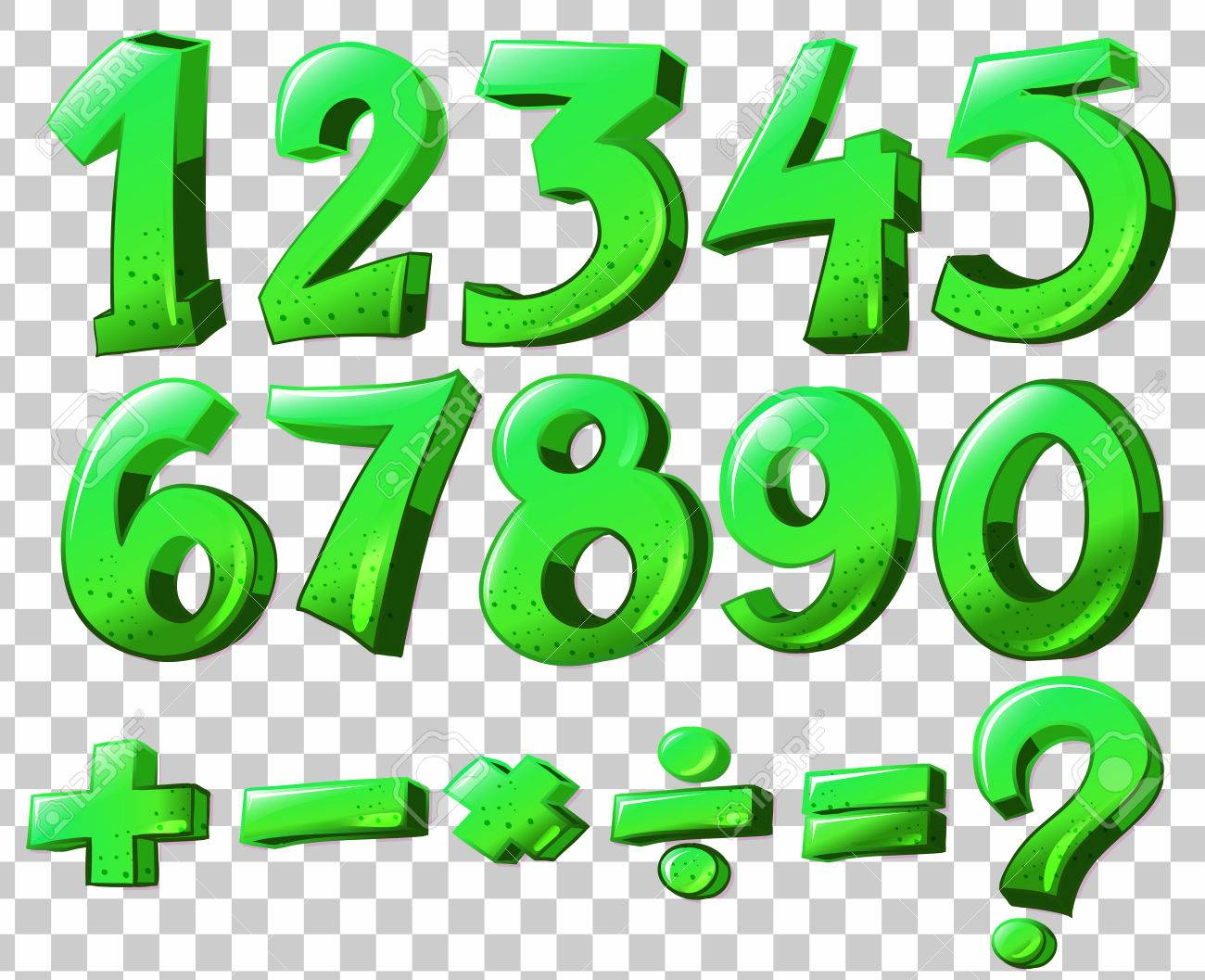 Illustration Of The Numbers In Green Color Royalty Free Cliparts ...