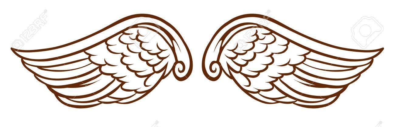 白の背景に天使の翼の簡単なスケッチのイラストのイラスト素材ベクタ