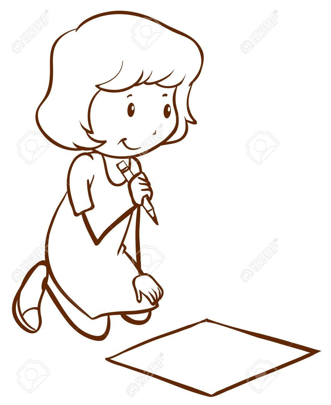 Illustration Dun Simple Dessin Dune Fille Qui écrit Sur Un Fond Blanc