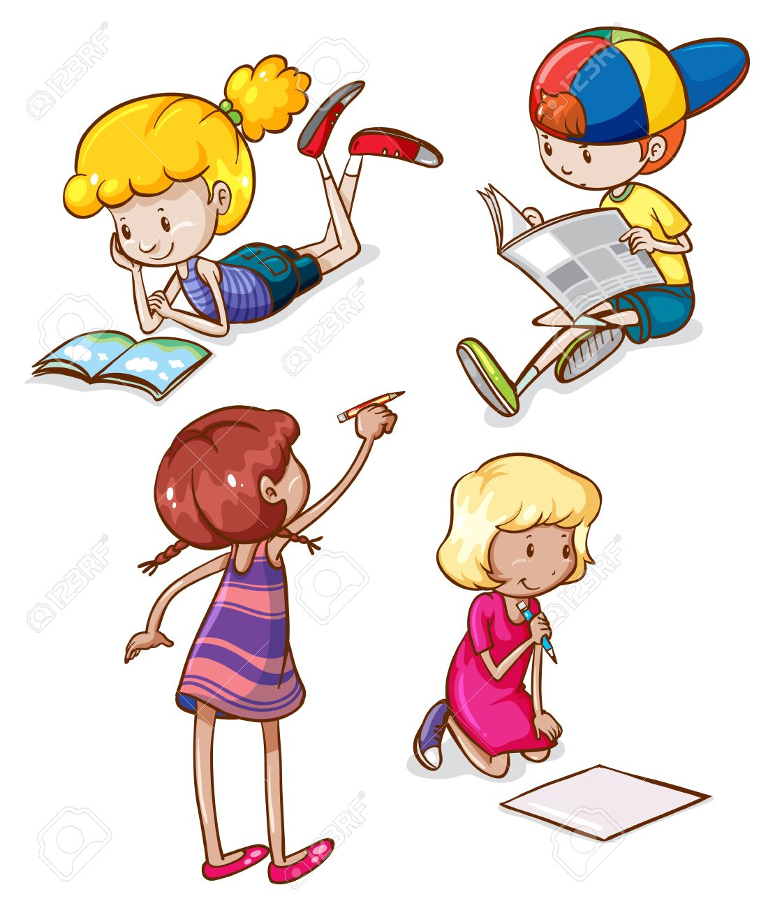 Uncategorized Simple Sketches For Kids illustration of the simple sketches kids reading and writing on a white background stock vector