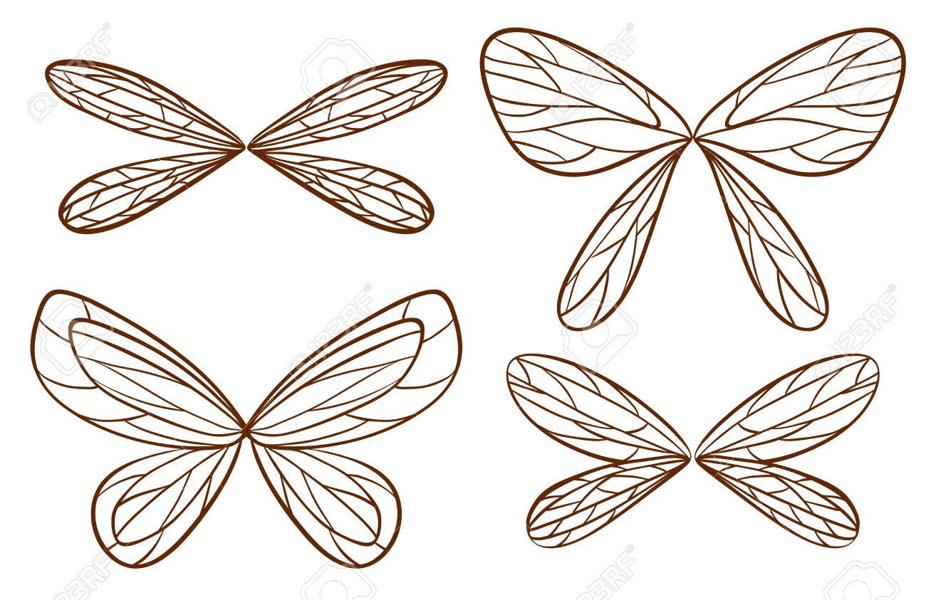 妖精の翼は白い背景の上の簡単なスケッチのイラストのイラスト素材