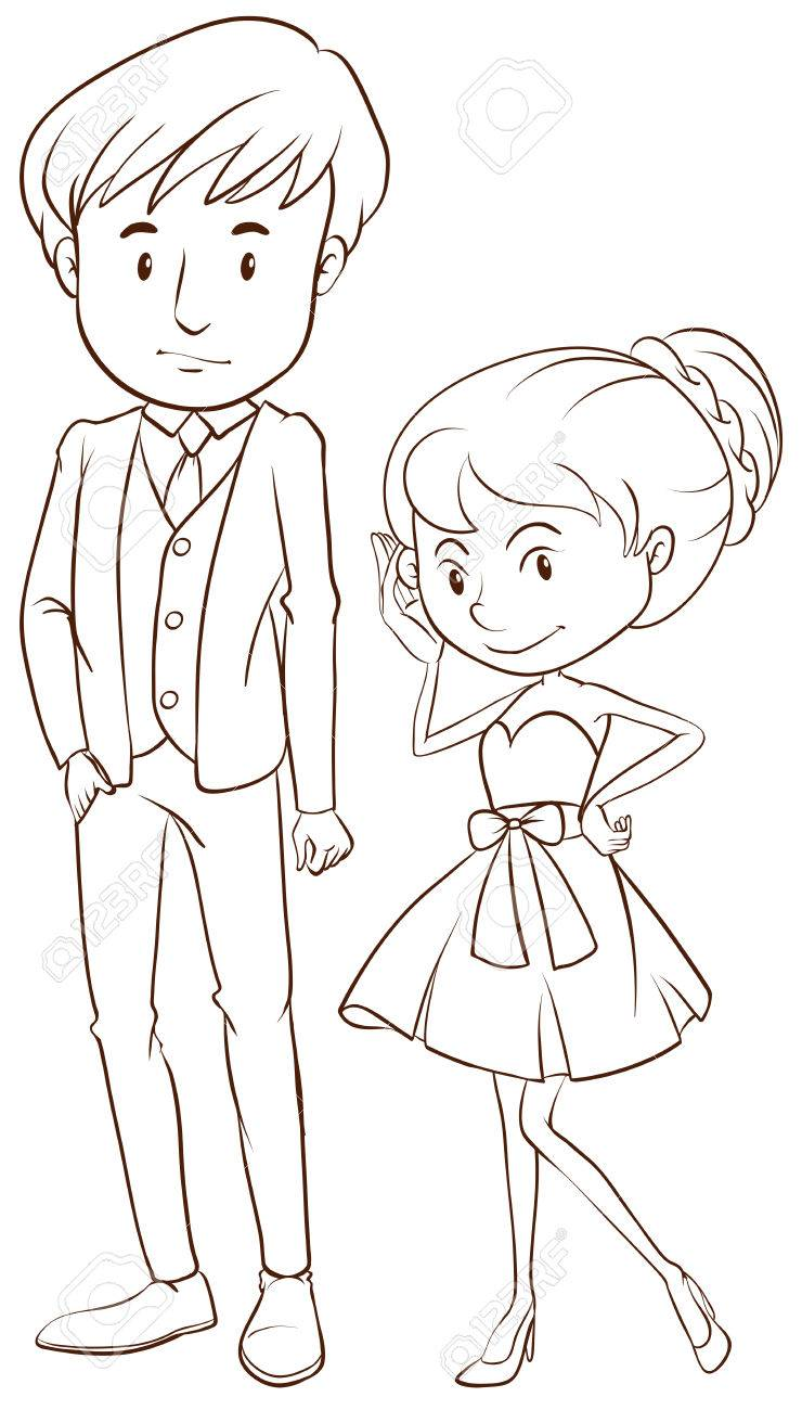 Illustration of a simple sketch of a couple in formal attire on a white background stock
