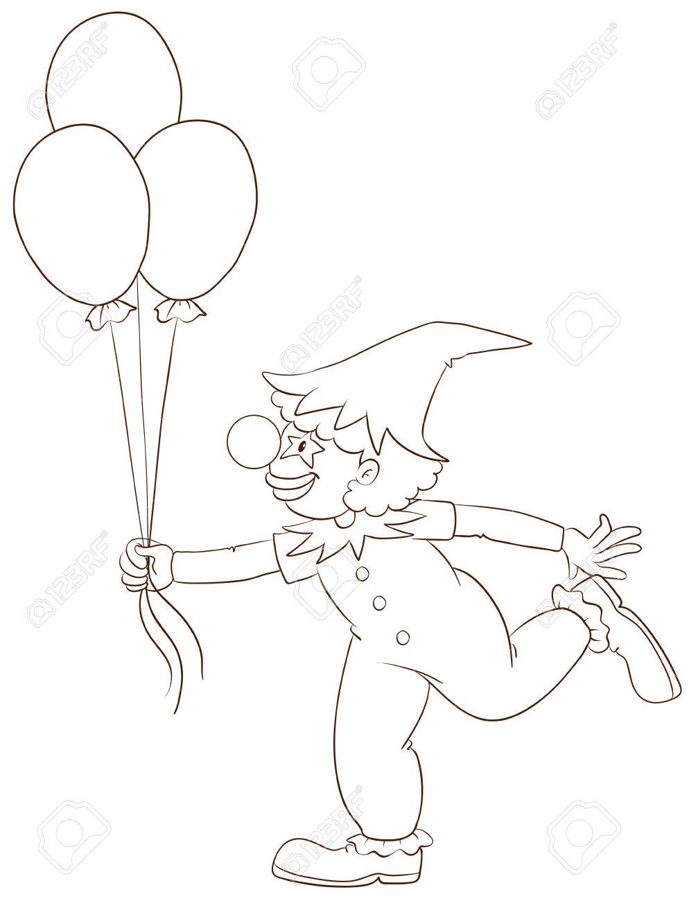 illustration of a simple sketch of a clown on a white background