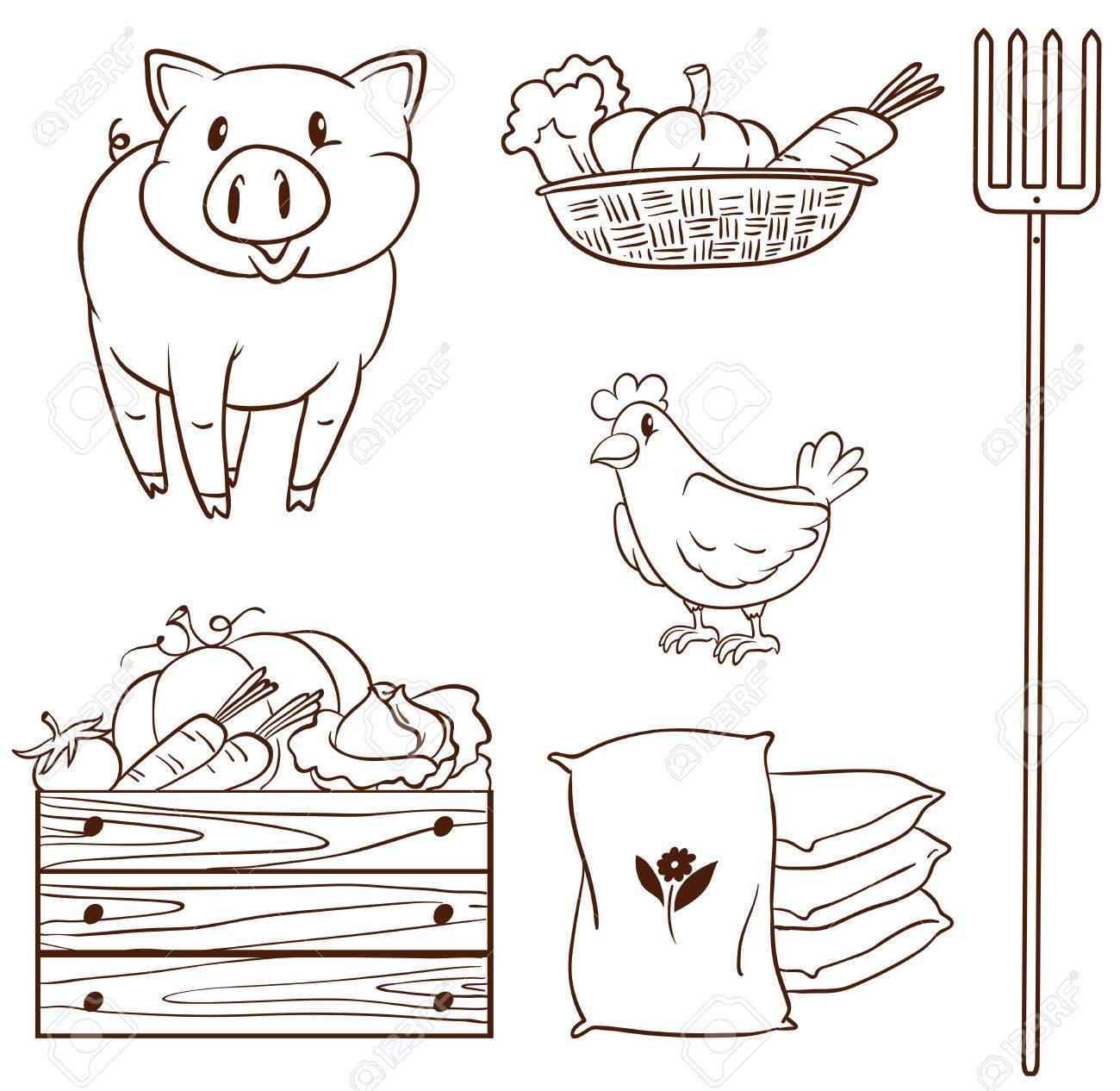 Illustration Of A Simple Sketch Of The Farm Animals And The ... for Simple Farm Sketch  53kxo