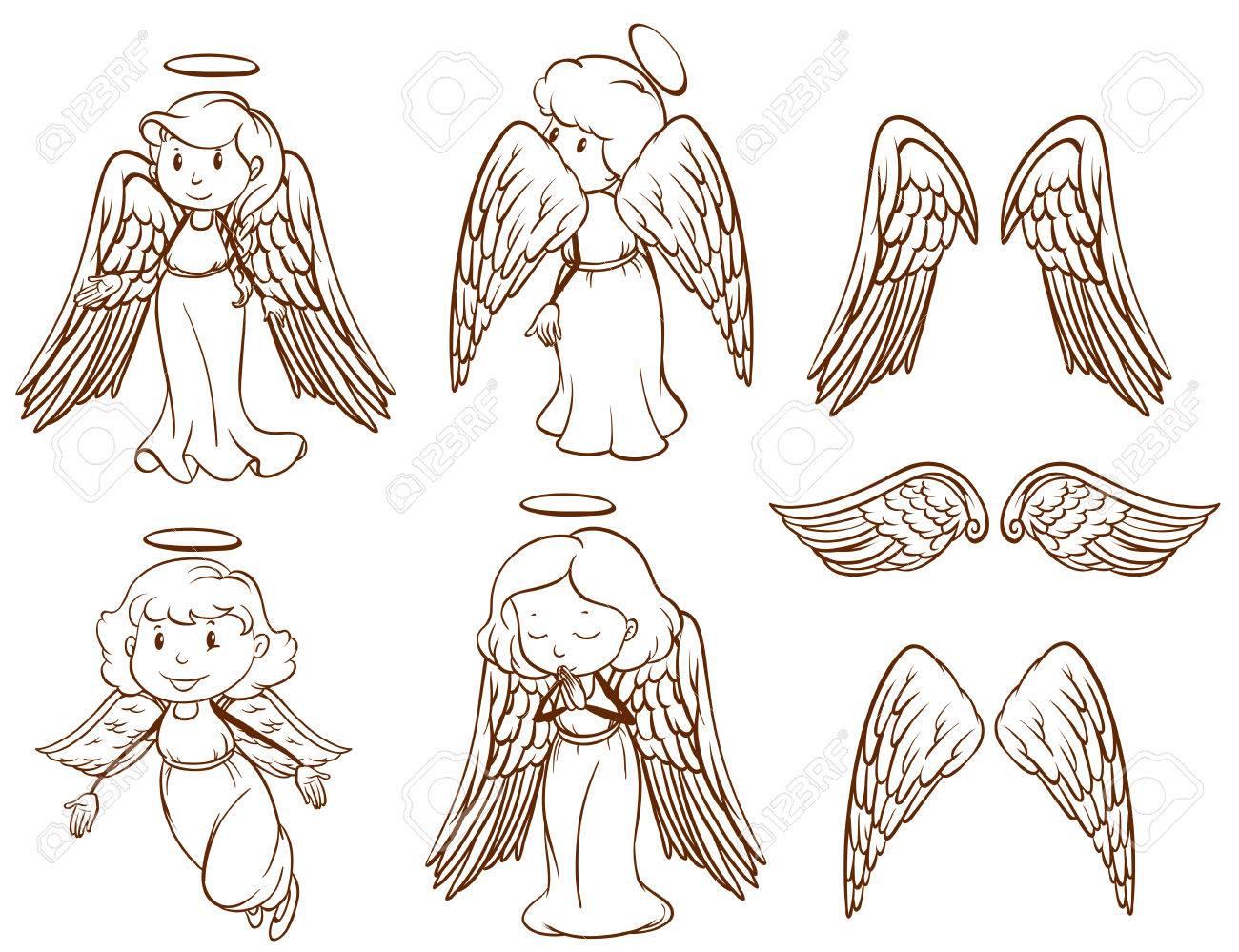 天使と白い背景の上の彼らの翼の簡単なスケッチのイラストのイラスト素材