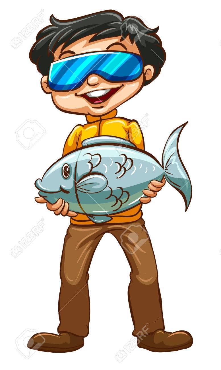 お魚くわえた男性のイラストのイラスト素材ベクタ Image 31965788