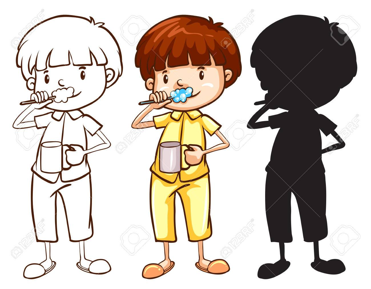 Illustration Of A Sketch Of A Boy Toothbrushing In Different