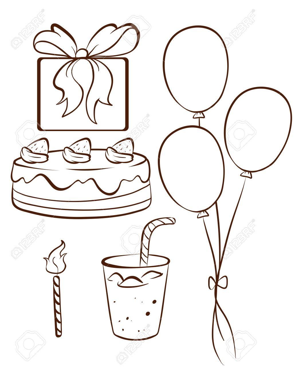 Fabuleux Illustrazione Di Un Semplice Disegno Di Una Festa Di Compleanno Su  AL22