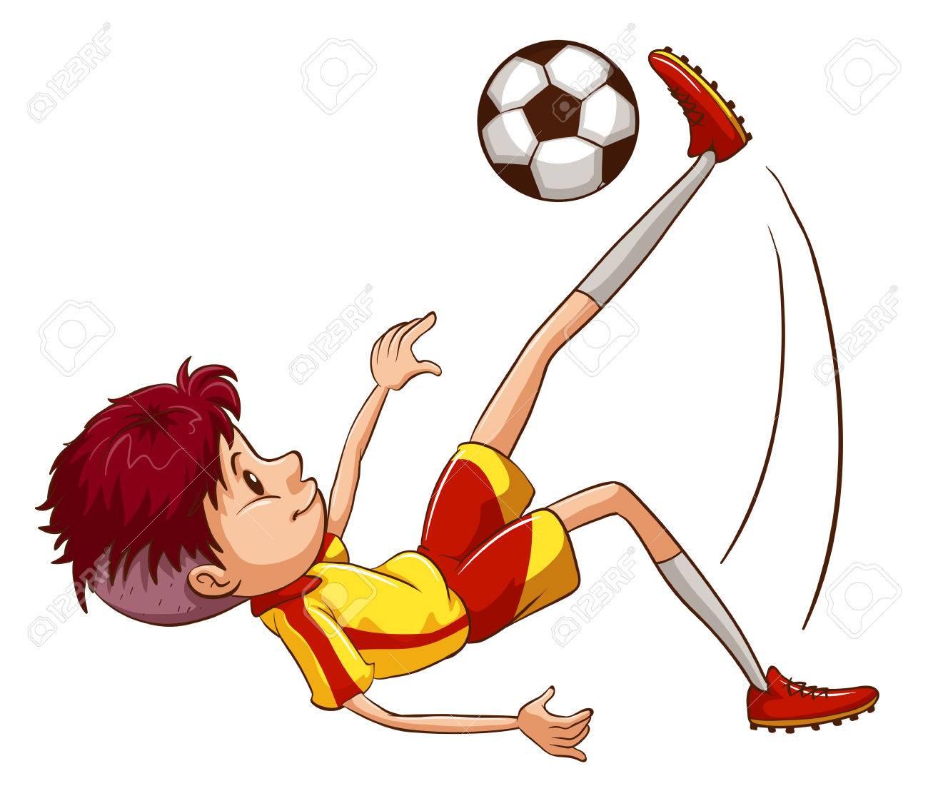 Ilustración De Un Simple Boceto Coloreado De Un Jugador De Fútbol ...