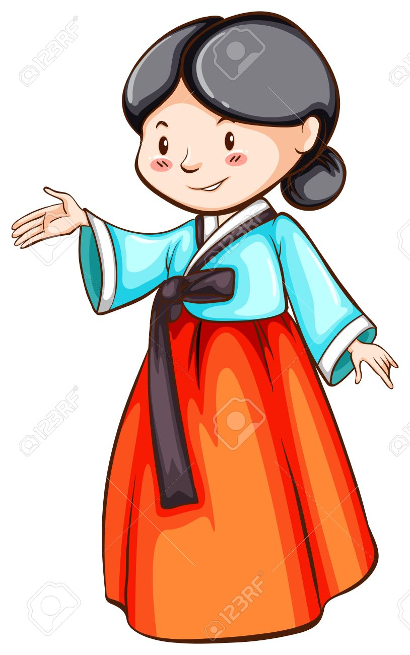 韓国の女性を間近のイラスト ロイヤリティフリークリップアート