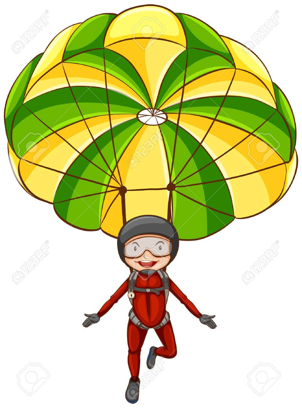 Clip Art Parachute Clipart illustration of a person parachuting in the sky royalty free stock vector 32349003