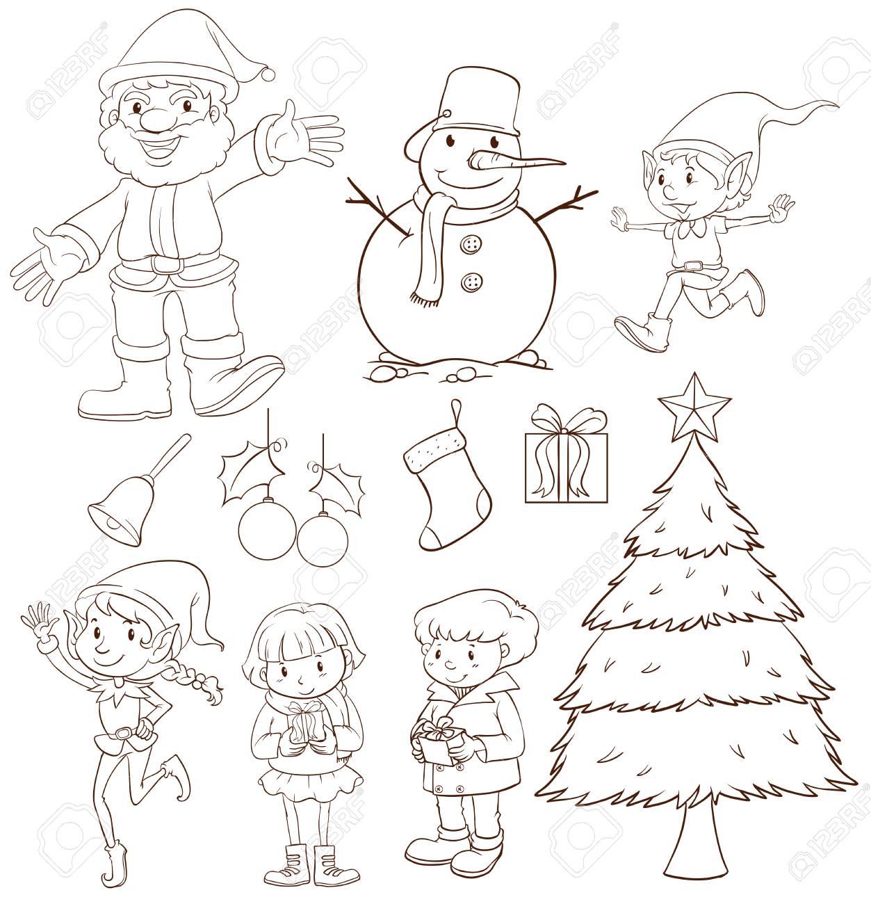 Illustration Of A Plain Sketch Christmas Celebration On White Background Stock Vector