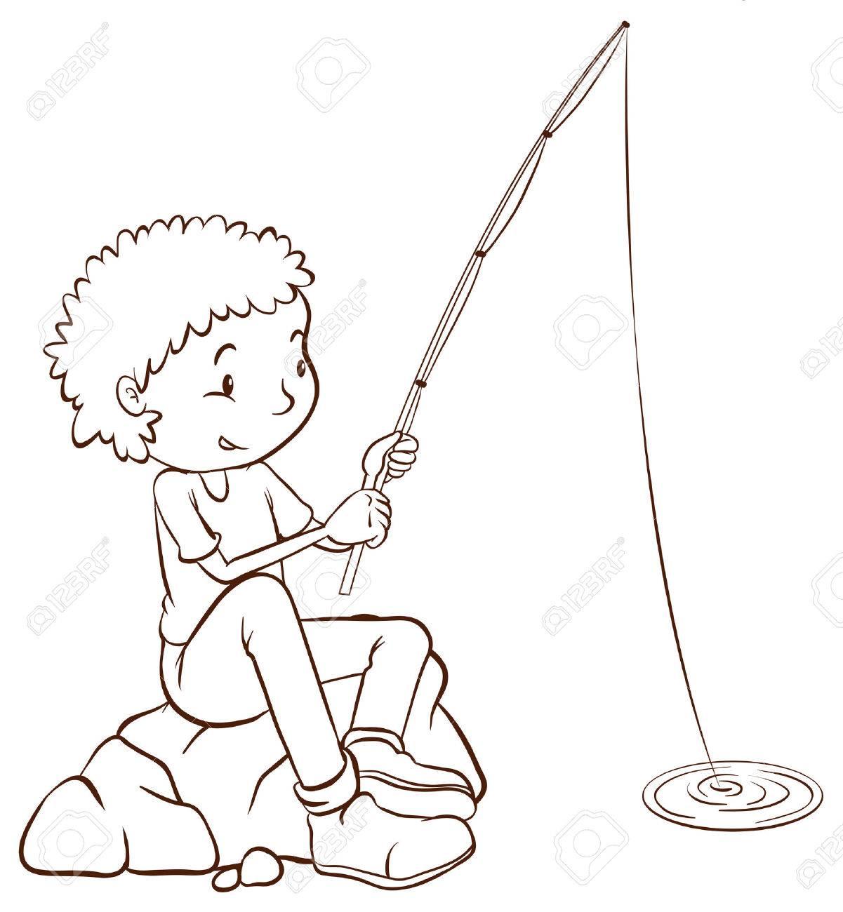 Ilustración De Un Bosquejo Simple Llanura De Un Niño Pescando En Un ...