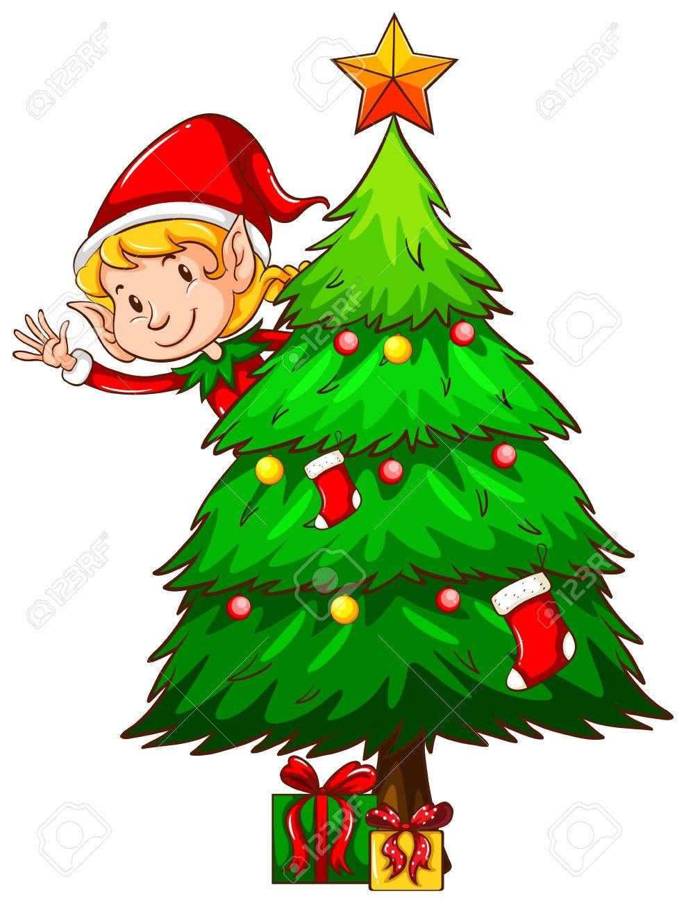 Illustration Of A Christmas Tree And An Elf