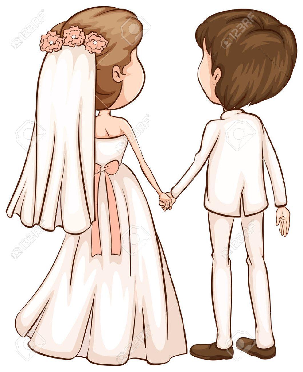 白い背景の上の新しく結婚カップルの簡単なスケッチのイラスト