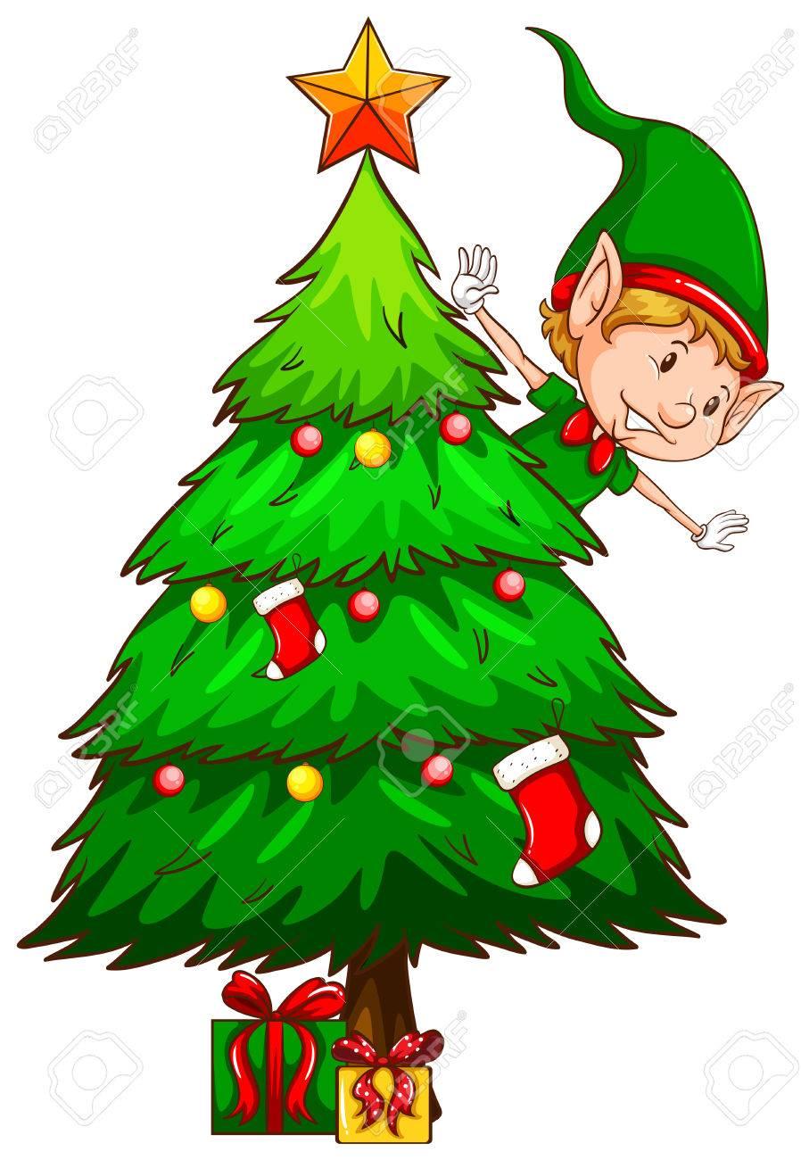 Arboles De Navidad Dibujos Coloreados.Ilustracion De Un Dibujo Coloreado De Un Arbol De Navidad En Un Fondo Blanco