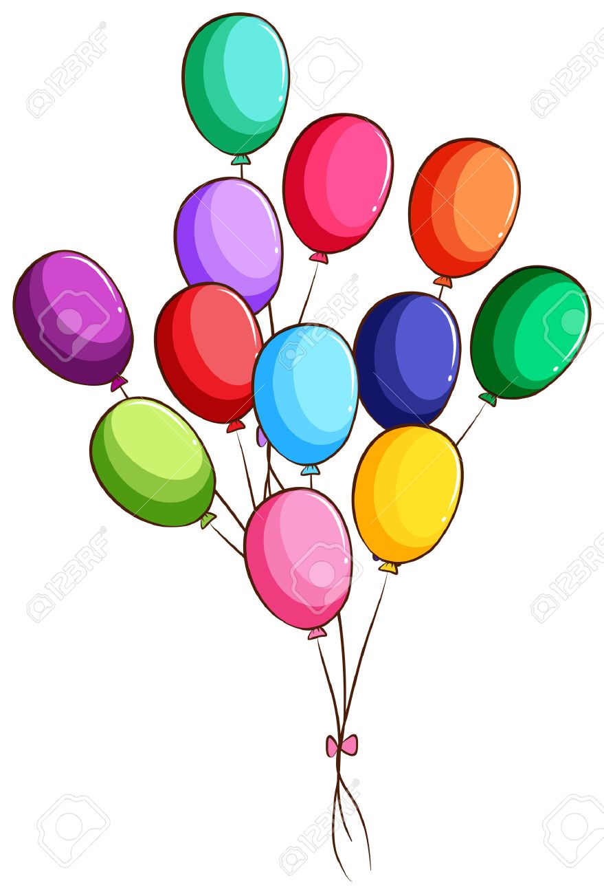Illustration Of A Simple Drawing Of A Group Of Balloons On A