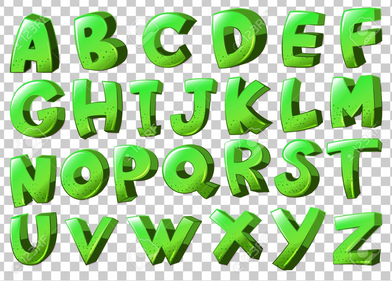 ilustracin de las letras del alfabeto en el color verde foto de archivo